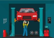 Samochodowego garażu wektorowa ilustracja, mężczyzna mechanika pozycja i naprawianie samochód, ilustracja wektor