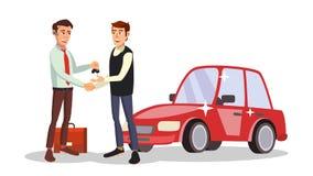 Samochodowego handlowa mężczyzna wektor Samochód sprzedaży agent royalty ilustracja