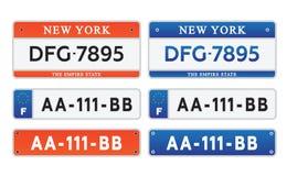Samochodowego numerowych talerzy licencja ustalona ilustracja eps10 Fotografia Royalty Free
