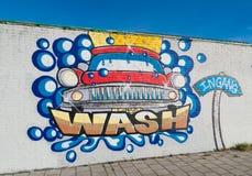 Samochodowego obmycia graffiti Zdjęcia Royalty Free
