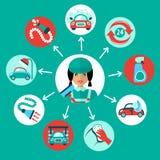 Samochodowego obmycia ikony ilustracja wektor