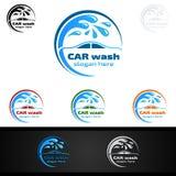 Samochodowego obmycia logo, Wektorowy loga projekt, Czyści samochodu, domycia i usługa, ilustracji