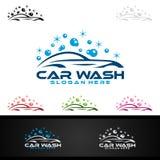 Samochodowego obmycia logo, Wektorowy loga projekt, Czyści samochodu, domycia i usługa, royalty ilustracja