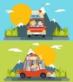 Samochodowej wycieczek dzieci pojęcia projekta Rodzinnej Dorosłej Drogowej Płaskiej ikony tła wektoru Halna Lasowa ilustracja Zdjęcia Stock