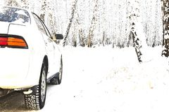 Samochodowej zimy drogowa śnieżna lasowa wycieczka turysyczna fotografia royalty free