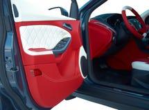 Samochodowi drzwi Samochodowi wnętrze szczegóły Biała czerwona skóra z zaszywaniem obraz stock