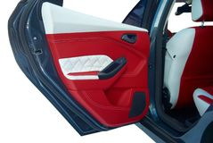 Samochodowi drzwi Samochodowi wnętrze szczegóły Biała czerwona skóra z zaszywaniem zdjęcia stock