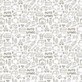 Samochodowi recyclers, scarp łamacz i auto dodatkowych części ikony w ręka rysującym stylowym tle i bezszwowym wzorze ilustracji