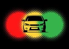 Samochodowi sylwetki i światła ruchu koloru punkty Fotografia Royalty Free