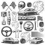 Samochodowy ścigać się czarna odosobniona monochromatyczna ikona ustawiająca z przedmiotami i atrybutami samochód, wektorowa ilus zdjęcia stock