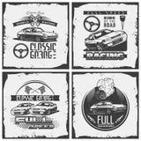 Samochodowy ścigać się emblemata szczegółowy set druk z grunge teksturą zdjęcie royalty free