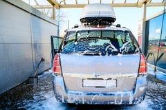 samochodowy czysty w?? elastyczny maszyny g?bki obmycie Samoobs?ugowy p?uczkowy kompleks Wysoki ci?nieniowy samochodowy obmycie P fotografia royalty free