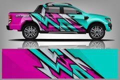 Samochodowy decal opakunku projekta wektor Graficznego abstrakcjonistycznego lampasa t?a zestawu bie?ni projekty dla pojazdu, sam fotografia stock