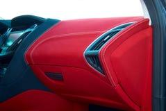 Samochodowy deflektor Samochodowi wnętrze szczegóły Czerwony i czarny alcantara z zaszywaniem obraz royalty free