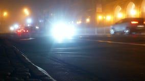 Samochodowy drogowy mgła ruch drogowy zbiory wideo