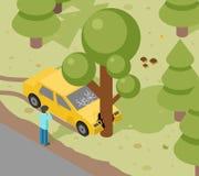 Samochodowy drzewny trzask ilustracji