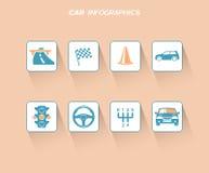 Samochodowy infographics projekt z płaskimi ikonami ilustracja wektor