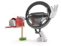 Samochodowy kierownica charakter z skrzynką pocztowa ilustracja wektor
