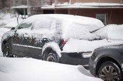 Samochodowy koło opóźniający w śniegu obrazy royalty free
