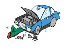 samochodowy kreskówki mechanika działanie Zdjęcia Stock
