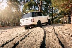Samochodowy Land Rover Range Rover stojak na piasku blisko lasu przy dniem Zdjęcie Stock