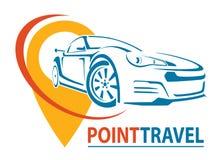 Samochodowy loga projekt Kreatywnie wektorowa ikona Punkt podróż również zwrócić corel ilustracji wektora ilustracja wektor