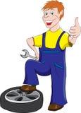 Samochodowy mechanik z kluczem Fotografia Stock