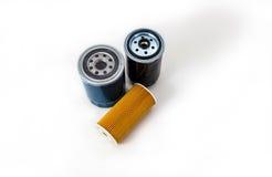 Samochodowy nafciany filtr na białym tle odizolowywającym Auto części Dodatkowe część Zdjęcie Stock