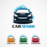 Samochodowy obmycie z wektorem, ikoną, elementem i szablonem dla firmy bąbla logo błękitnymi, ilustracji