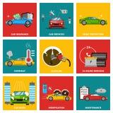 Samochodowy płaski projekt ikony set Fotografia Stock