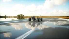 Samochodowy podwozie z silnikiem na autostradzie Bardzo szybki jeżdżenie AUTO pojęcie świadczenia 3 d Fotografia Stock