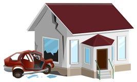 samochodowy samochodów karambolu trzask wielki autostrada zamrażającą prędkość Samochód rozbijał w ścianę w domu Własność insuran royalty ilustracja