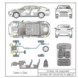 Samochodowy sedanu wnętrza części silnika siedzeń deski rozdzielczej rysunek zarysowywa no nawraca przedmioty ilustracja wektor