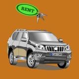 Samochodowy suv dla czynszu z samochodu kluczem również zwrócić corel ilustracji wektora Fotografia Royalty Free