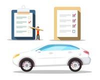 Samochodowy symbol z list kontrolnych ikonami kupienie samochody royalty ilustracja