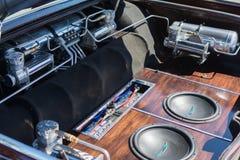Samochodowy systemu dźwiękowego szczegół na pokazie Zdjęcie Stock