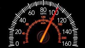 Samochodowy szybkościomierz i poruszający pointer na czarnym parawanowym tle, 4K animacja ilustracji