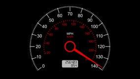 Samochodowy szybkościomierz i poruszający pointer na nim maksymalna prędkość chłopcy basen wody FullHD royalty ilustracja