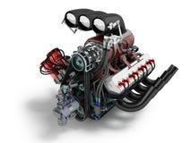 Samochodowy Turbo jest czerwony błękitny frontowy perspektywy 3d rendering na białym tle z cieniem Obrazy Stock