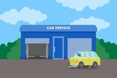 Samochodowy usługowy budynek Samochód naprawa i dylemat ilustracji