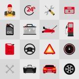 Samochodowy usługowego mieszkania ikony set Auto mechanika usługowego mieszkania ikony utrzymanie samochodu działanie i naprawa A Obrazy Stock