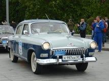 Samochodowy ` Volga ` GAZ-21 przy wiecem starzy samochody w Moskwa Fotografia Royalty Free