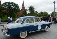 Samochodowy ` Volga ` GAZ-21 przy wiecem starzy samochody w Moskwa Zdjęcie Royalty Free