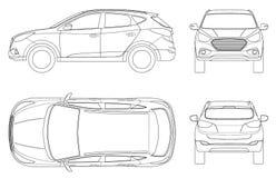 Samochodowy wektorowy szablon na białym tle Ścisły skrzyżowanie, CUV, 5 drzwiowy stacyjny furgon na konturze Szablonu wektor royalty ilustracja