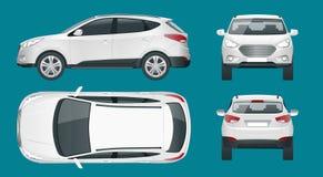 Samochodowy wektorowy szablon na białym tle Ścisły skrzyżowanie, CUV, 5 stacyjnego furgonu drzwiowy samochód Szablonu wektor odiz ilustracja wektor