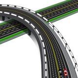 Samochodowy wiadukt krzyżuje autostradę Drogowa wymiana ilustracja ilustracji