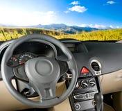 Samochodowy wnętrze, krajobrazowy widok/ Fotografia Stock