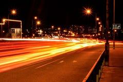 Samochodu światła ślada w nocy ulicie Zdjęcie Stock