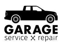 Samochodu centrum, garaż usługa i naprawa logo, Wektorowy szablon Zdjęcia Stock