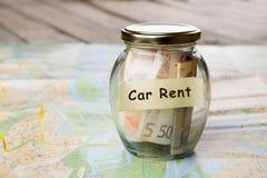 Samochodu czynsz pieni?dze szk?o, samochodu klucz i mapa samochodowa -, obrazy stock